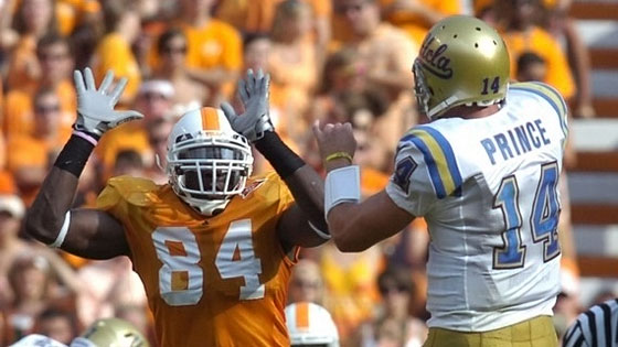 Tennessee defensive end Chris Walker (84) tries to tip a pass by UCLA quarterback Kevin Prince (14) in 2009. Photo by Amy Smotherman Burgess:News Sentinel
