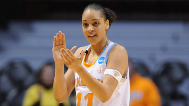 KNOXVILLE, TN - MARCH 23, 2013: forward Cierra Burdick #11 of the Tennessee Lady Volunteers clapping during the game between the Tennessee Lady Volunteers and the Oral Roberts Golden Eagles at Thompson-Boling Arena in Knoxville, TN. Photo By Donald Page/Tennessee Athletics