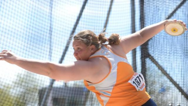 KNOXVILLE, TN -APRIL 13, 2013: DAY 3: Aslynn Halvorson during the women's discus of the 47th annual Sea Ray Relays at LaPorte Stadium and the Tom Black Track in Knoxville, TN. Photo by Whitney Carter/Tennessee Athletics